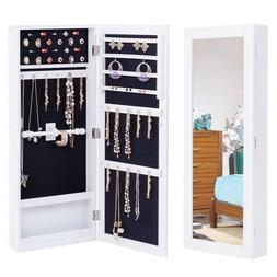 Mirrored Jewelry Cabinet Wall Mounted Storage Full Size Orga