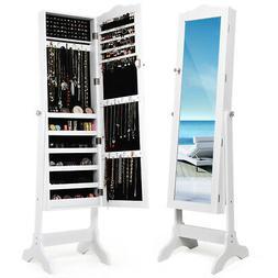 Mirrored Lockable Jewelry Cabinet Armoire Organizer Storage