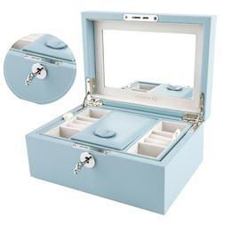 Mirrored Lockable Wooden Jewelry Box Organizer with Key Earr