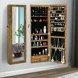Wall Door Mounted Jewelry Cabinet Armoire Box Organizer with