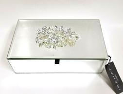 NEW TAHARI GLASS MIRROR,3D SILVER TONE WITH CRYSTALS FLOWER