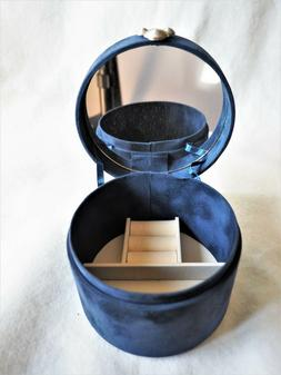 NEW NAVY BLUE ULTRA-SUEDE ROUND JEWELRY BOX WITH MIRROR
