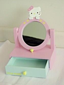 New Sanrio Hello Kitty Mini Wooden Jewelry Chest Mirror Pink