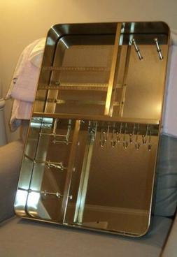 NWOB POTTERY BARN TEEN Glass Mirror Jewelry Organizer Cabine