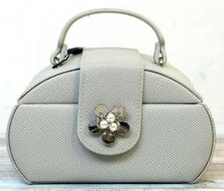 NWT Tuscan Designs GRAY SAFFIANO LEATHER TWO TIER MIRROR TRA