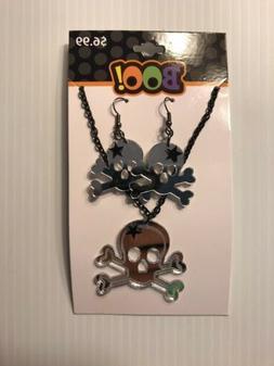 NWT Halloween Skeleton Skull Cross Bones Necklace & Earring
