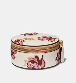 NWT Coach Round Floral Print Jewelry Travel Pouch Case Mirro