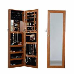 Organizedlife Oak Mirrored Jewelry Cabinet Case with Lock Wa