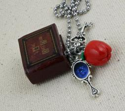 Once Upon A Time Book Necklace - Red Poison Apple, Queen's K
