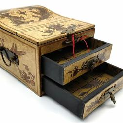 Oriental Jewelry Mirror Trinket Keepsake Wood Decorative Box