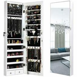 Over The Door Wall Mirror Full Length Jewelry Armoire Organi