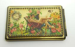 Michal Negrin phone book + mirror compact box flowers roses