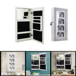 photo mirrored jewelry cabinet organizer wall mounted