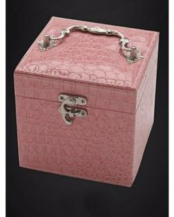 Pink Leather Jewelry Box with Ring Display Gift Case Storage