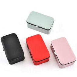 Portable PU Jewelry Case Organizer Mirrored Earrings Storage