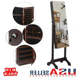Practical Lockable Mirror Jewelry Cabinet Armoire Organizer