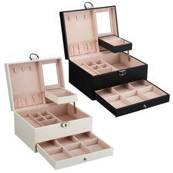 PU Leather Jewelry Box Organizer Case Two-Layer Display Box