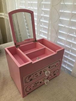 Rare & HTF Sanrio Hello Kitty Wooden Jewelry Box w/ Mirror