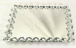 Rectangle Crystal Cosmetic Makeup Tray, Mirrored Vanity Jewe