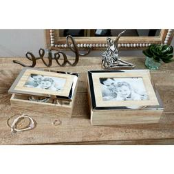 Rectangular Natural Wood Jewelry Boxes with Mirrors and Pict