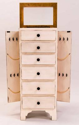 Rustic White Jewelry Armoire Display Storage Chest Necklace