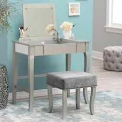 Silver Gray 2 pc Wooden Vanity Set Stool Mirror Desk Table M