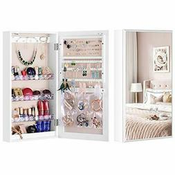LUXFURNI Small Mirror Jewellery Cabinet Wall-Mount/Door-Hang
