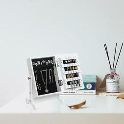 Small Mirrored Jewelry Cabinet Organizer Armoire Storage Box