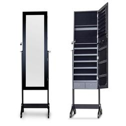 Standing Full Length Mirror with Lockable Storage Organizer