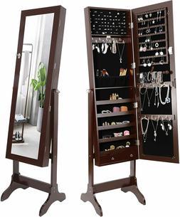 Standing Jewelry Cabinet Lockable Full-Length Mirrored Jewel