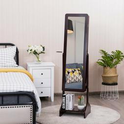 Standing Jewelry Cabinet with Full-length Mirror