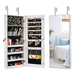 Wall Hanging Door Mirror Jewelry Cabinet Storage Organizer A
