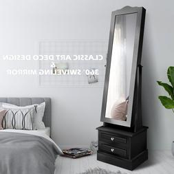 ENSTVER Swiveling Mirror 360°Rotating  Jewelry Armoire,LED