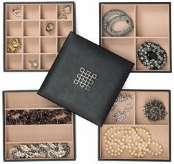 Jewelry Organizer Tray - 4 Stackable Trays & Lid with Mirror
