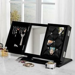 Trifold Tabletop Vanity Mirror Jewelry Storage Armoire Memo