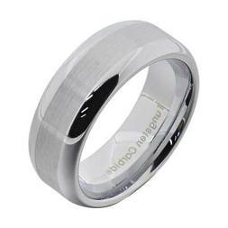Tungsten Ring Brushed Top Round Mirror Polish Edge Men's Jew