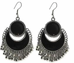 Unique Trendy Black Mirror Oxidized Silver Hanging Tassal Wo