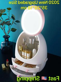 USB Touch Big LED Mirror Makeup Organizer/Box, Skincare Jewe
