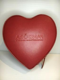PANDORA Valentine Red Heart Zip Around Mirror Jewellery Box