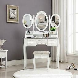 Vanity Jewelry Makeup Dressing Table Stool Set w/ 3/4/5/7 Dr