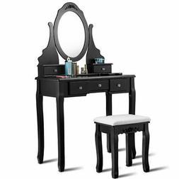 Vanity Jewelry Wooden Makeup Dressing Table Set W/Stool Mirr