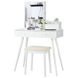 Vanity Table Set W/Mirror Dressing Table Set w/Lockable Jewe