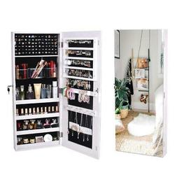 Velvet Hanging Mirror Jewelry Cabinet Armoire Cosmetic Organ