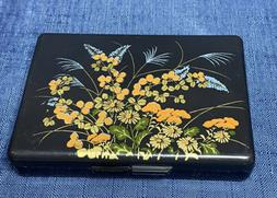Vintage Black Lacquer Compact Asian Plastic Vanity Jewelry C