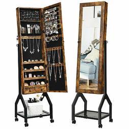 vintage jewelry armoire cabinet mirrored lockable organizer