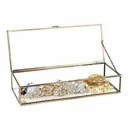 Vintage Style Brass Metal & Clear Glass Mirrored Shadow Box