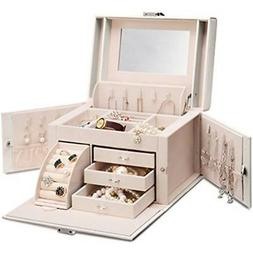 Vlando Mirrored Jewelry Boxes Wooden Organizers For Girls Wo