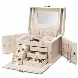 Vlando Mirrored Wooden Jewelry Box Organizers for Girls Wome