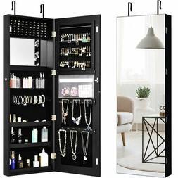 Wall&Door Mounted Jewelry Cabinet Lockable Storage Organizer