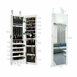 Wall & Door Mounted Mirrored Jewelry Cabinet Storage Organiz